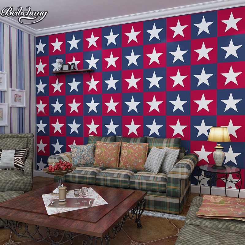 beibehang Abstract-star 3D three-dimensional non-woven sofa TV background wallpaper bedroom living room background wallpaper beibehang american pastoral three dimensional small tree non woven wallpaper living room tv sofa background bedroom bedside