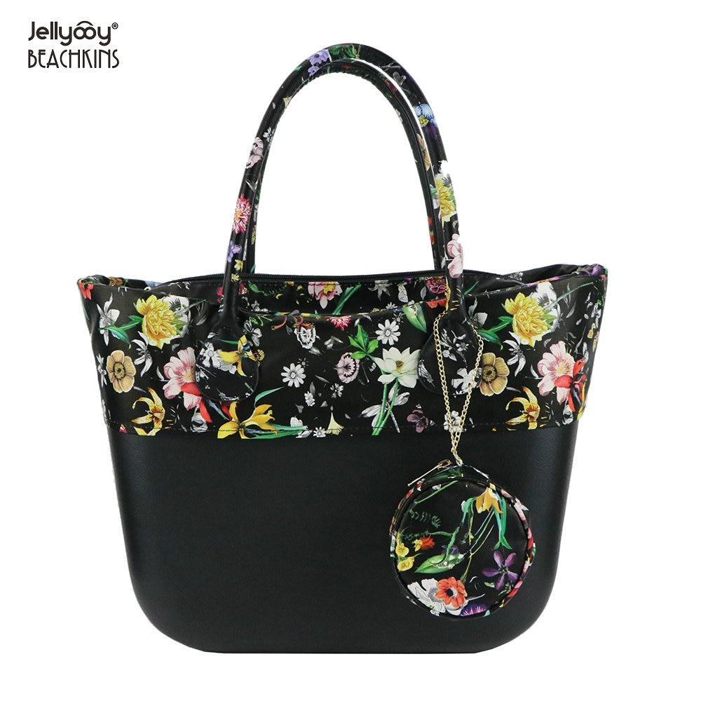 Jellyooy Beachkins New EVA Obag Floral Print Handle Summer Waterproof Beach Bags Large Size Classic Women EVA Handbag цена 2017