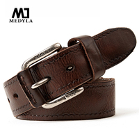 New Leather Waist Lead The Fashion And Personality Layer Cowhide Imported Italian Men Belt Gold Buckles