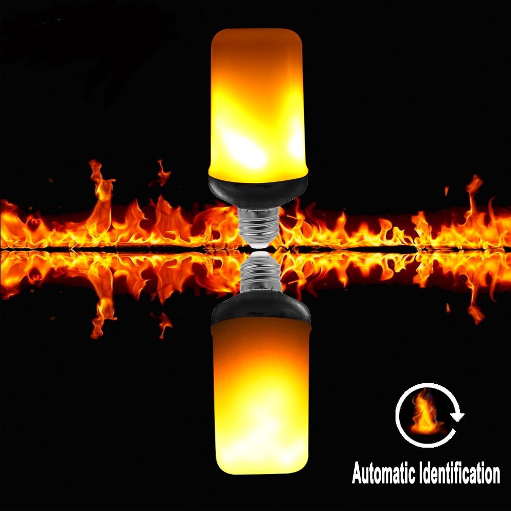 US $7 02 63% OFF|3 modes+Gravity Sensor E27 E26 LED Flame Effect Fire Light  Bulb 9W Creative Lights Flickering Emulation Decorative Flame Lamp-in LED