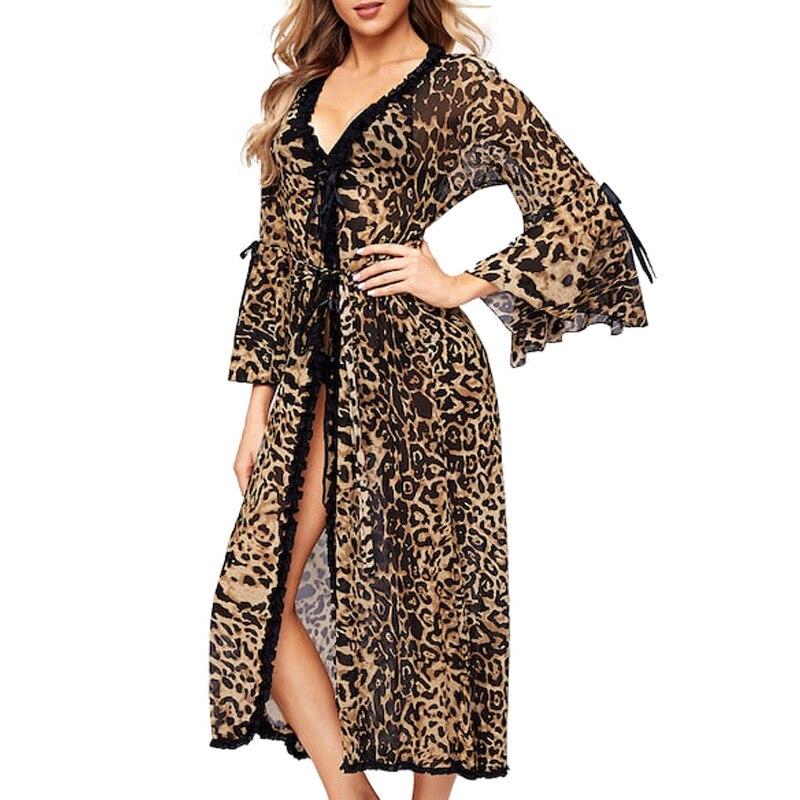 Image 3 - Women Sexy Bathrobe Leopard Kimono Winter Autumn Casual Sleepwear Mesh Nightwear Elegant Bathroom Spa RobeRobes   -