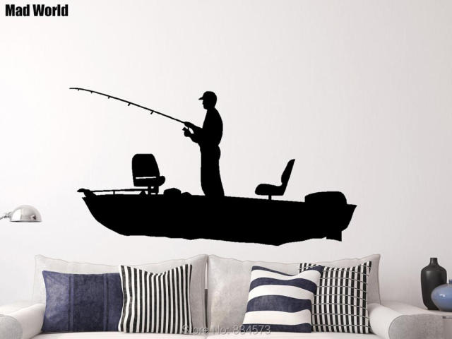 Fisherman Man Boy Fishing Fish Boat Retro Wall Art Stickers Wall Decal Home  DIY Decoration Removable Part 70