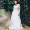 2017 High Quality Plus Size Wedding Dresses Pleats Sleeveless Beach Bridal Chiffon Gown White or Ivory Wedding Dress