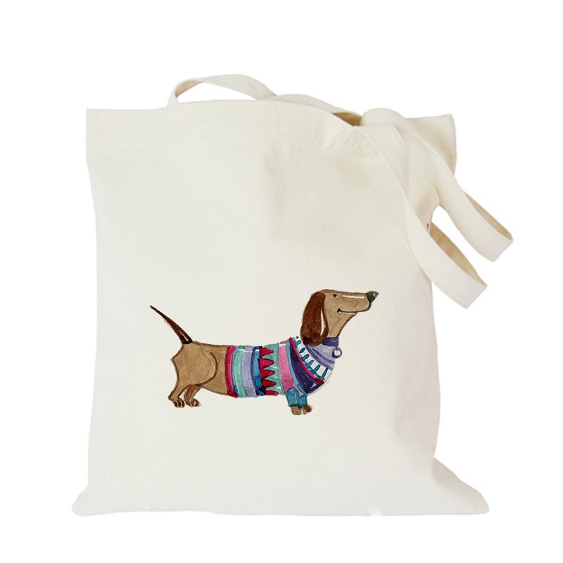 2019 Pet dog series canvas bag customized eco custom tote bag custom made shopping bags with logo Dachshund Shepherd Dog Poodle (7)