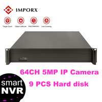 IMPORX 64CH 5MP 9HDD Ports Network Video Recorder 32CH 4K Output H.265 2U 9PCS SATA Support Onvif 2.6 P2P CCTV NVR For IP Camera