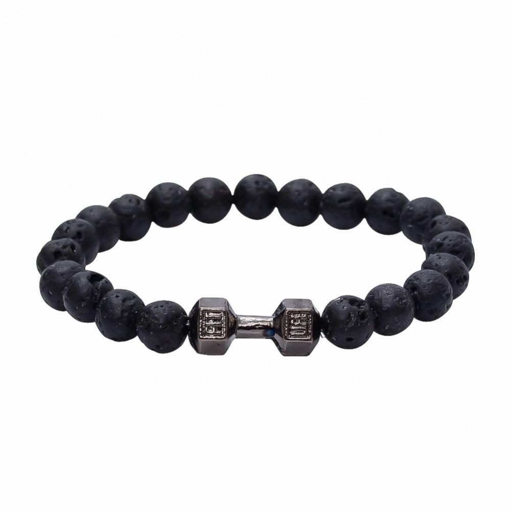 Sporty Style Alloy Metal Barbell Bracelet 8mm Lava Stone Beads & Fashion Fit Life Dumbbell Bracelet Jewelry for Men/ Wmen
