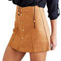 Hot sale women American and England style Faux leather A line sexy mini skirts fashion high waist button solid femininas skirts