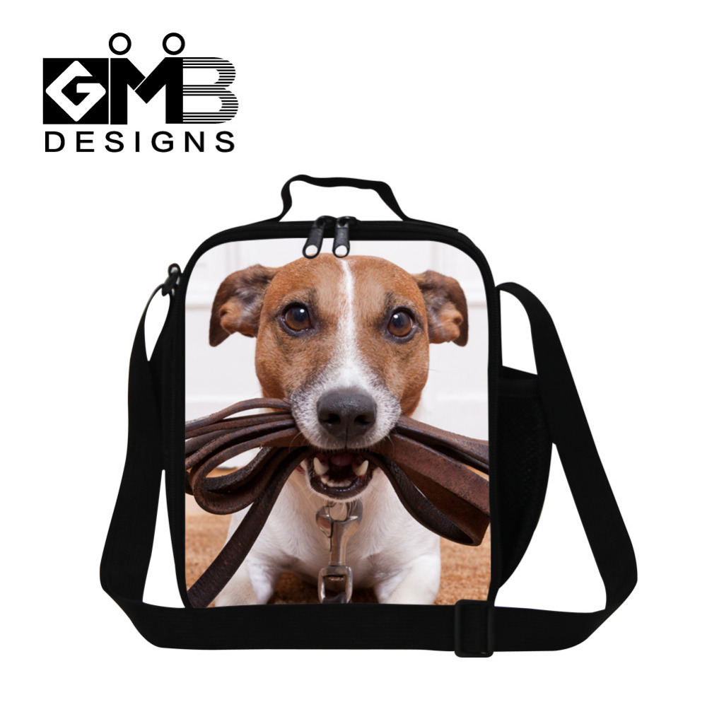 Personalized Kids Thermal Lunch Bags Animal Dog 3D Print Small Lunch Box For Men Insulated Multi-function Students Picnic Bag