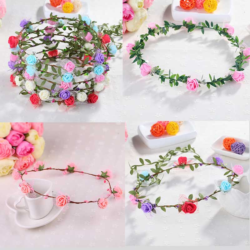 GNHYLL New Spring Fashion Women Lady Girls Wedding Flower Wreath Crown Headband Floral Garlands Hair Band Hair Accessories