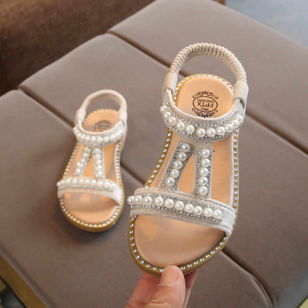Verano niños pequeños bebés niñas perla cristal princesa individual romano zapato de cuero Casual moda nuevos Zapatos de perlas romanas