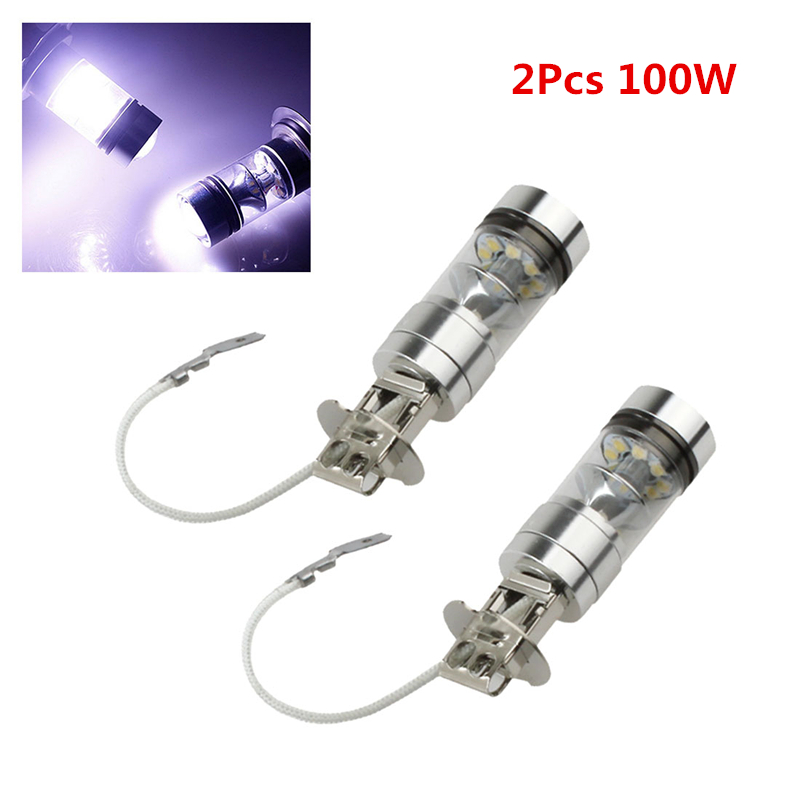 2pcs! H3 100W Bright White LED Car Fog Light Bulb Signal Turn Brake Parking Tail DRL Auto Head Light Lamp Car Styling 1pcs high power h3 led 80w led super bright white fog tail turn drl auto car light daytime running driving lamp bulb 12v