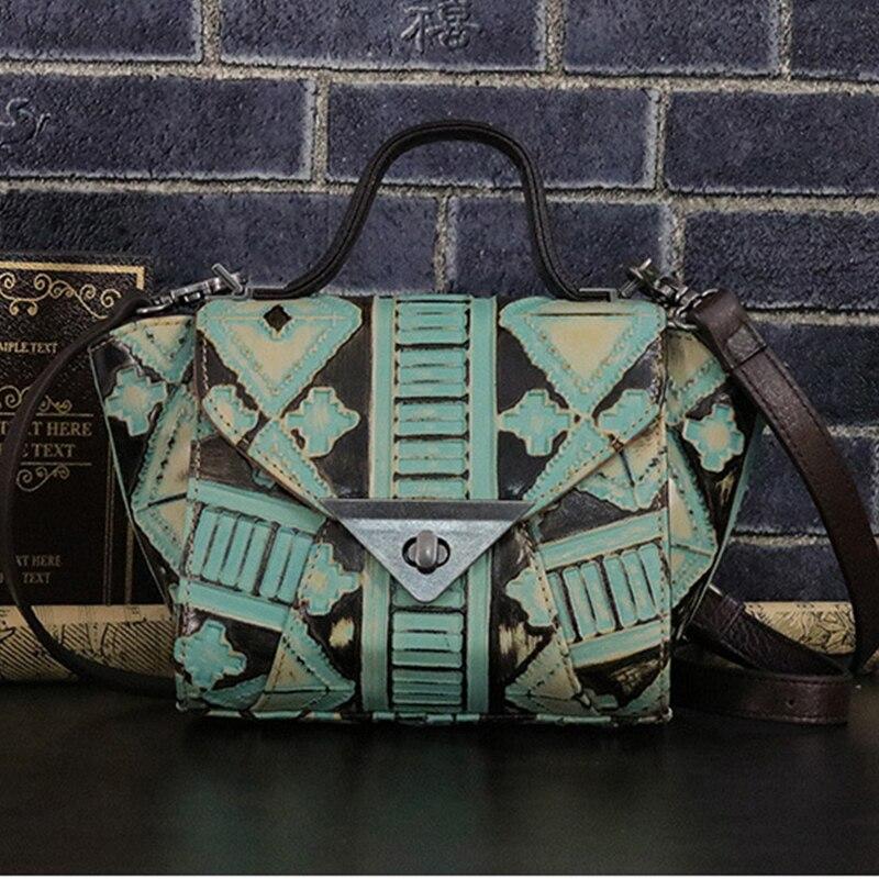 Real Cowhide Women Tote Handbag Cross Body Bag Top Quality Travel Genuine Leather Female Retro Top Handle Messenger Shoulder Bag