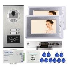"""Квартира """" ЖК-видео домофон система+ RFID доступ Открытый камера для 2 семьи+ Электрический замок удара"""