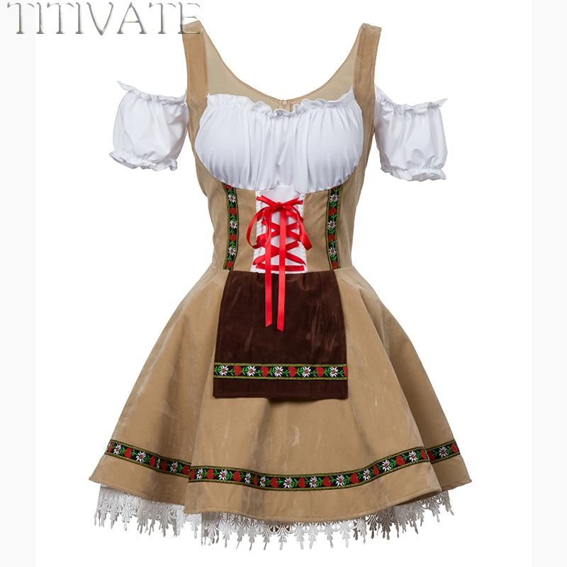 TITIVATE Modo Oktoberfest Beer Girl Costume Cameriera Wench Germania Bavarese Manica Corta Vestito Operato Dirndl Per Le Donne Adulte