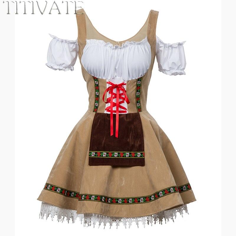 TITIVATE moda Oktoberfest cerveza chica disfraz mucama Alemania bávara manga corta vestido elegante para mujeres adultas