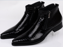 Large size EUR46 Serpentine blue / black mens ankle boots wedding party shoes genuine leather shoes man dress shoes