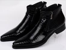 Large size EUR46 Serpentine blue / black mens ankle boots wedding party shoes genuine leather shoes man dress shoes