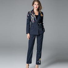 2017 Top Fashion Formal Slim Pans Suits Blazer Long Trousers European Americanl Workwear Embroidery Striped 2 Pieces Set Outfits