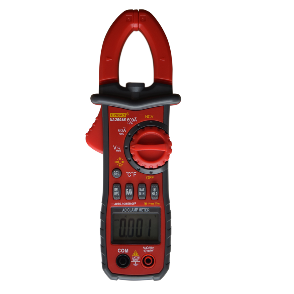 LIXF-UYIGAO UA2008B Handheld Digital LCD Clamp Meter Multimeter DC/AC Voltage AC Current Resistance Temperature Frequency Duty bside acm02 plus 600a ac current digital clamp meter with ac dc voltage resistance capacitance frequency temperature duty cycle