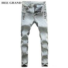 HEE GRAND 2016 New Arrival Autumn Fashion Leisure Slim Decorative Button Pencil Pants Men's Jeans Light Grey Blue Color MKN265
