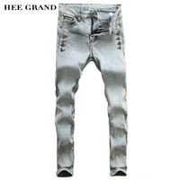 HEE GRAND 2017 New Arrival Autumn Fashion Leisure Slim Decorative Button Pencil Pants Men's Jeans Light Grey Blue Color MKN265