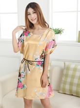 fashion gold casual  gown nightgown pijama mujer printed design women rayon nightdress summer robe bath gown zh01f