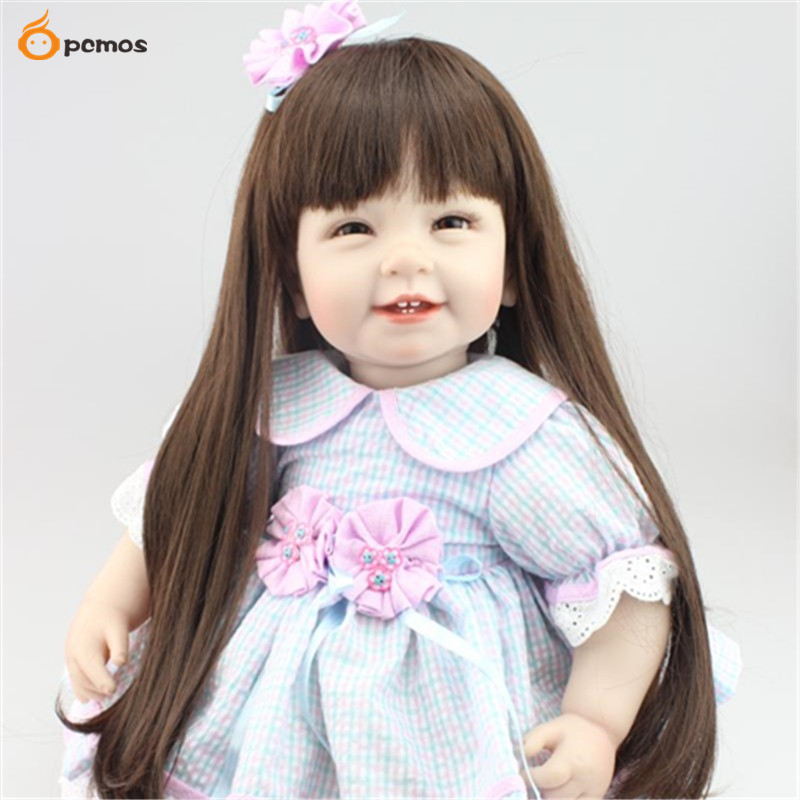 """[PCMOS] 2017 New 22"""" Lifelike Reborn Long Hair Girl Dolls Silicone Vinyl Handmade Baby With Dress Collection 3357"""