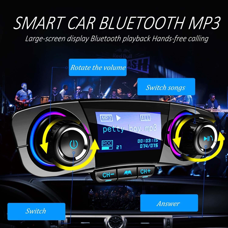 SRUIK Bluetooth transmisor FM coche MP3 reproductor Kit manos libres coche inalámbrico Radio Audio adaptador con doble USB 5V 2.1A Puerto USB