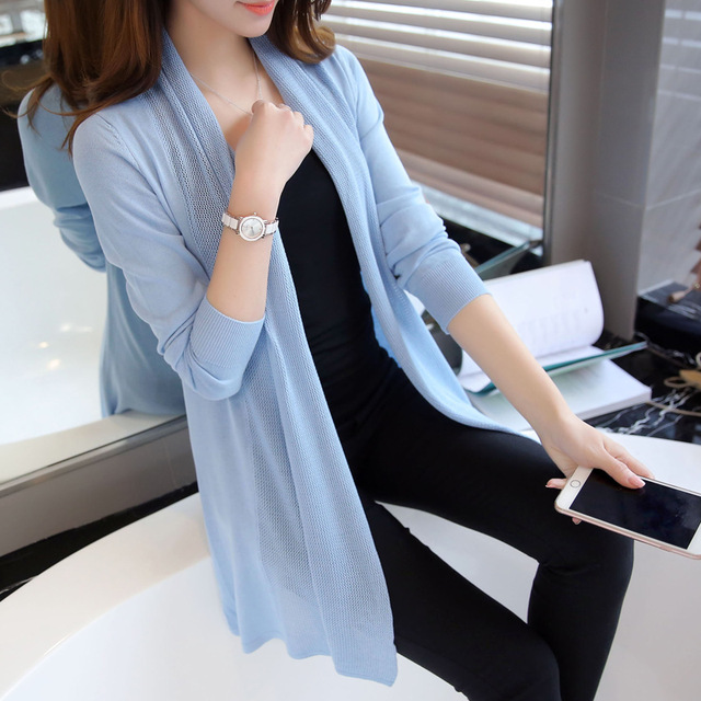 Spring tops women's loose long sleeve sweater female knitted cardigan style summer thin plus size shirt cutout outerwear JN749