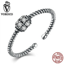 VOROCO Trendy Twisting 925 Sterling Silver Rings Zirconia Party Adjustable Finger Open Cuff Rings for Women