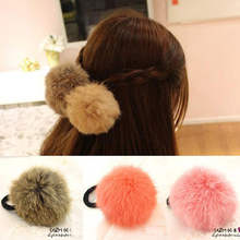 Hot Sale Korean Style Girls Cute Trendy Soft Fake Rabbit Fur Elastic Hair Rope Hair Band Hair Accessories
