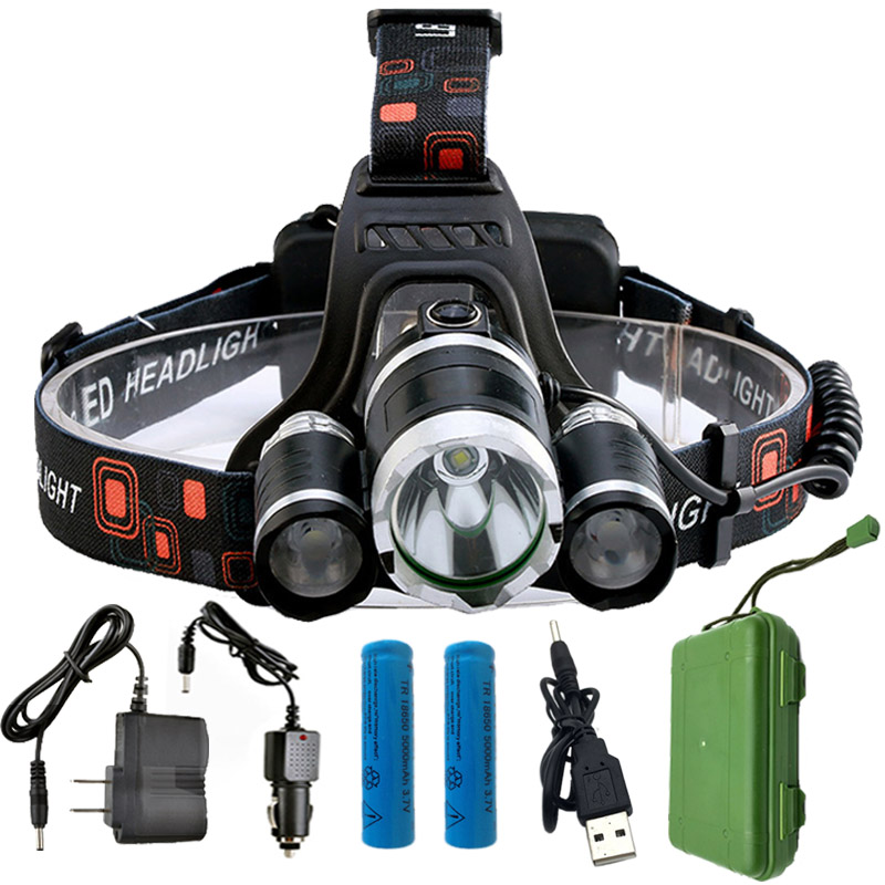 13000LM 4 Modes T6 LED Headlamp 18650 Rechargeable Battery Light Flashlight for Fishing Hunting Waterproof Outdoor Lighting