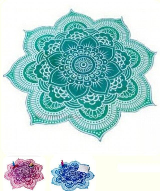 КАММИТЕВЕР Гоблен Зелено Синьо лилаво кръгъл плажен басейн Йога мат Домашен хавлиена кърпа одеяло