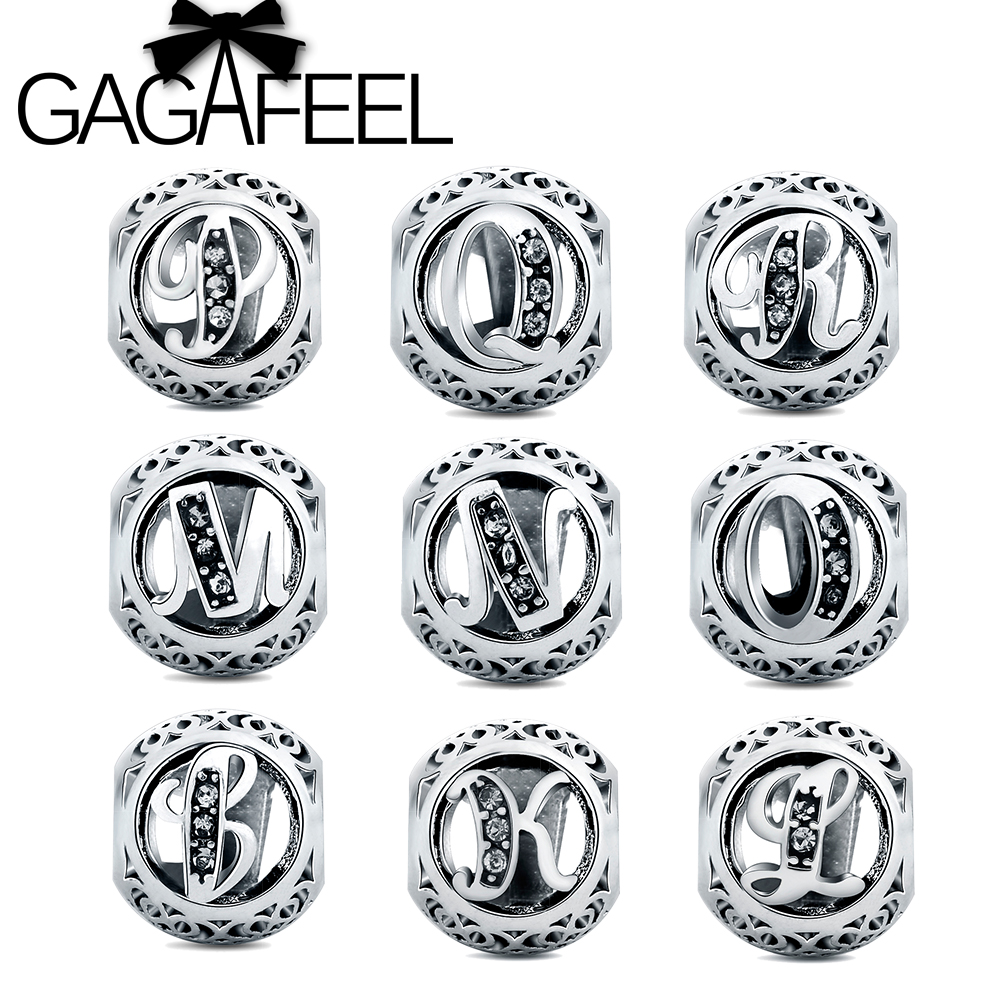 gagafeel new letter beads fit pandora charm bracelets charms with cubic zirconia for jewelry diy making