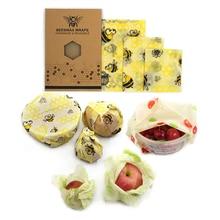 재사용 가능한 밀랍 헝겊 포장 식품 신선한 가방 뚜껑 스트레치 뚜껑 정글 파티 꿀벌 왁스 포장 플라스틱 포장