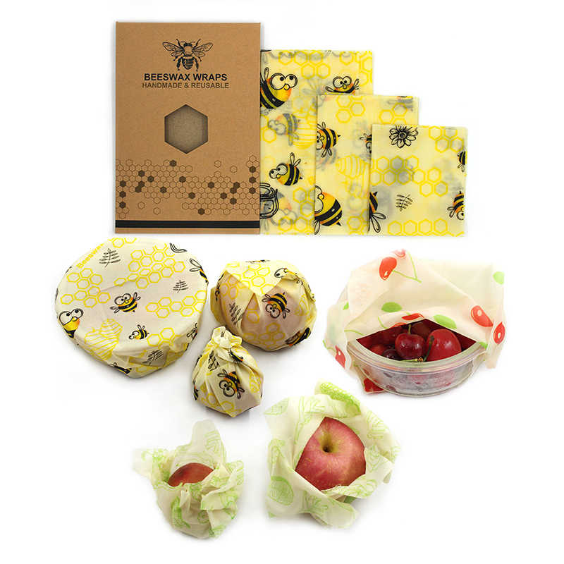 Reusable Beeswax Cloth Wrap Food Fresh Bag Lid Cover Stretch Lid Jungle Party Bees wax wrap plastic wrap