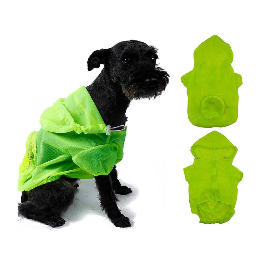 Protable Travel Dog Sun UV Protection Raincoat Waterproof Hooded Dog Clothes Rain Coat Cloak For Puppy Pet Rainy With Hood