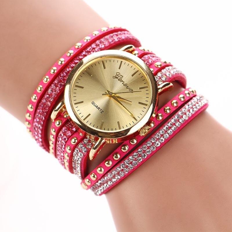 Quartz  Watch Women Wrist Watch Crystal Rivet Bracelet Braided Winding Wrap Dress Watches mance ladies brand designer watches luxury watch women 2016 crystal rivet bracelet braided winding wrap quartz watches quality