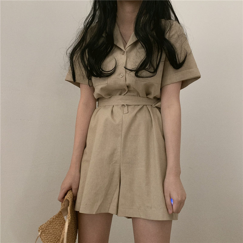HziriP 2019 OL Jumpsuit Women Summer Bodysuit Elegant Lace Up Party Sexy Solid Playsuits Short Sleeves Khaki Short Pant Overalls