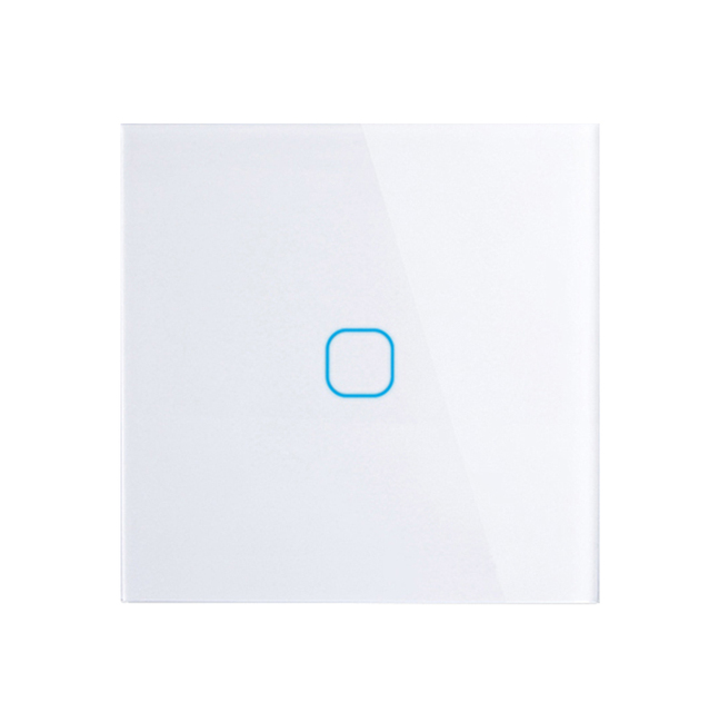 EU Stanard Touch Switch White Crystal Glass Panel 1 Gang  1 Way Touch Switch,  EU Light Wall Touch Screen Switch,AC 170-250V