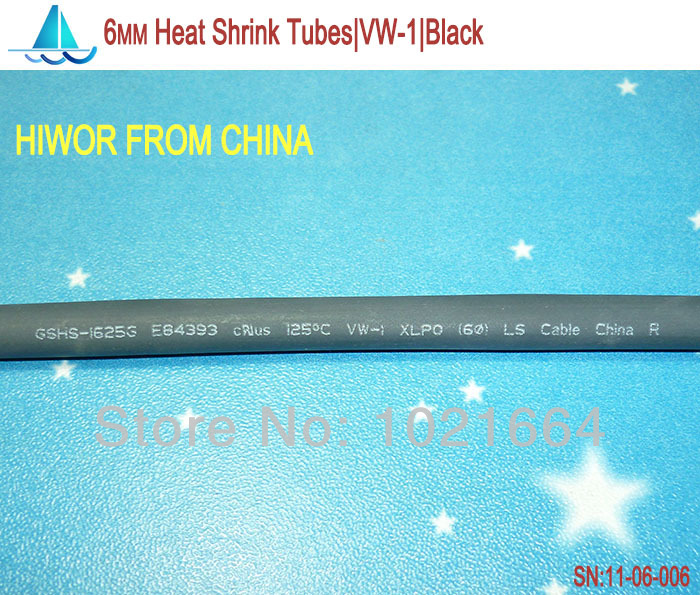 20meters/lot 6MM Heat Shrink Tubes Shrinkable Tubing Insulation Sleeving
