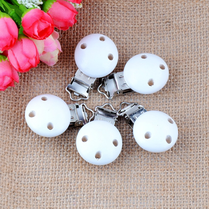 10PCs Baby Pacifier Clips Mixed Pattern White Wood Metal Holders Cute Infant Soother Clasps Accessories 4.4x2.9cm