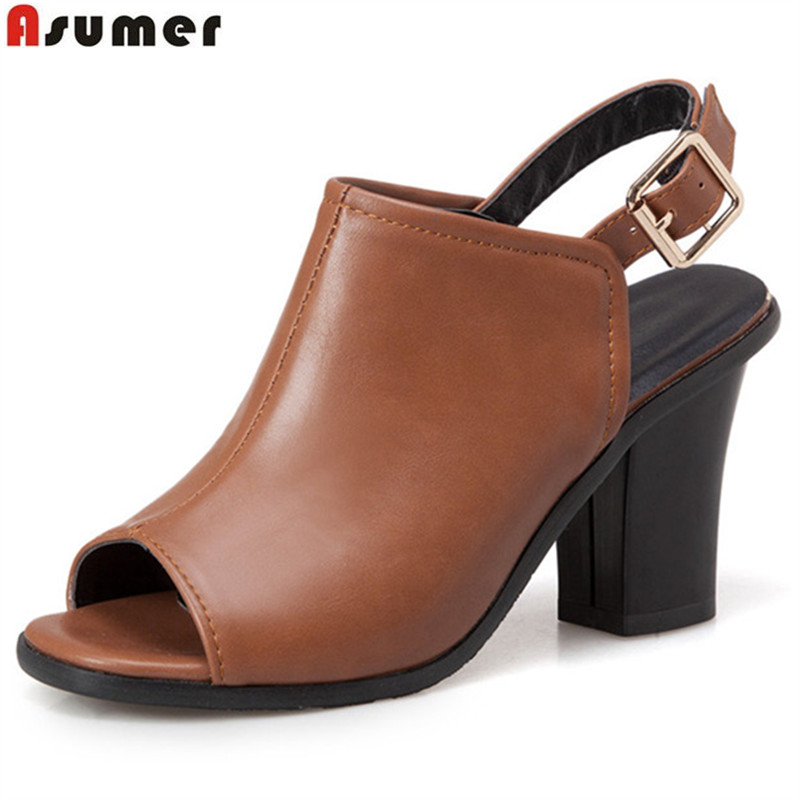 bcc96181429f ASUMER 2018 fashion summer new arrival shoes woman peep toe buckle thick  heel women sandals big