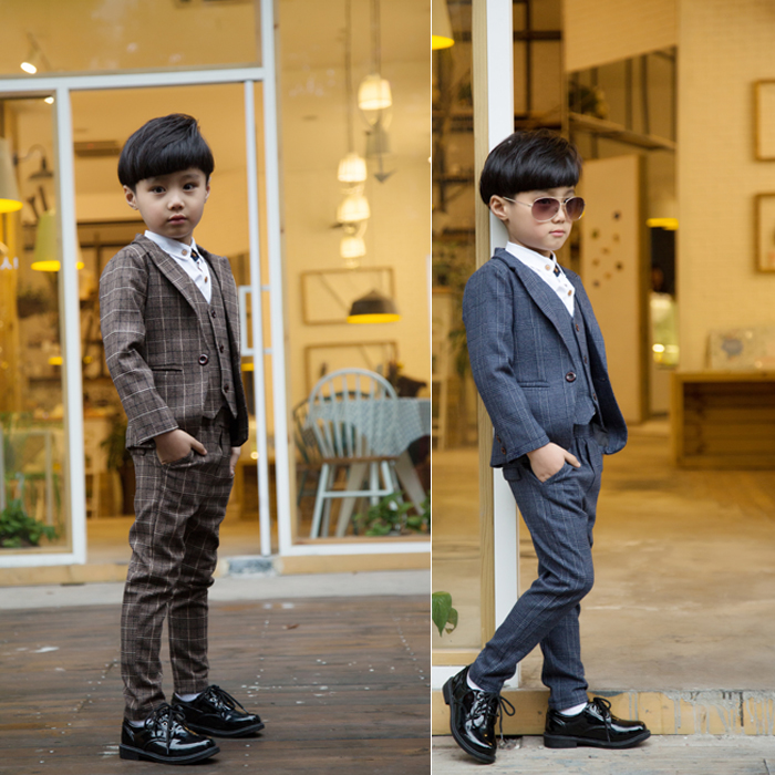 2-12Y new 2016 autumn winter boys high quality gentlemen Western-style clothes clothing set 3pcs boys full dress clothes set