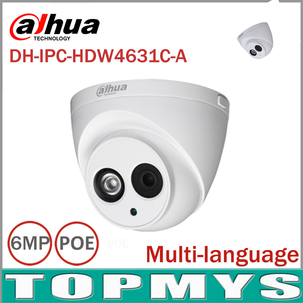 DaHua 6MP IP Camera IPC-HDW4631C-A POE Network Camera With Built-in Microphone Upgrade model of 4MP Camera IPC-HDW4431C-A dahua 6mp ip camera ipc hdw4631c a poe network camera with built in micro upgrade model of 4mp camera ipc hdw4431c a