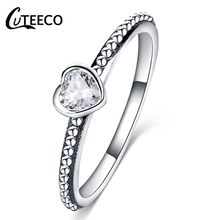 CUTEECO Fashion Jewelry Silver Color Forever Love Engagement Ring For Women Fit Original Brand Valentines Day Gift