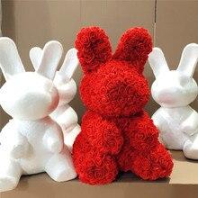 40 см Белый пенопластовый кролик литьевая игрушка сделай сам для Дня Святого Валентина вечерние украшения для свадьбы Розовый Кролик пластиковая Цветочная форма