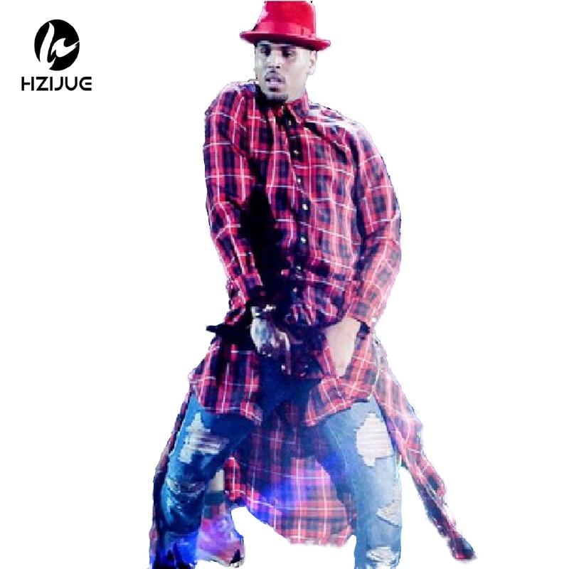 HZIJUE Extended Long High Low Side Zipper Unisex Man Swag Shirt T Shirt Hip Hop Men Streetwear Hem Plaid Blue Red male swag