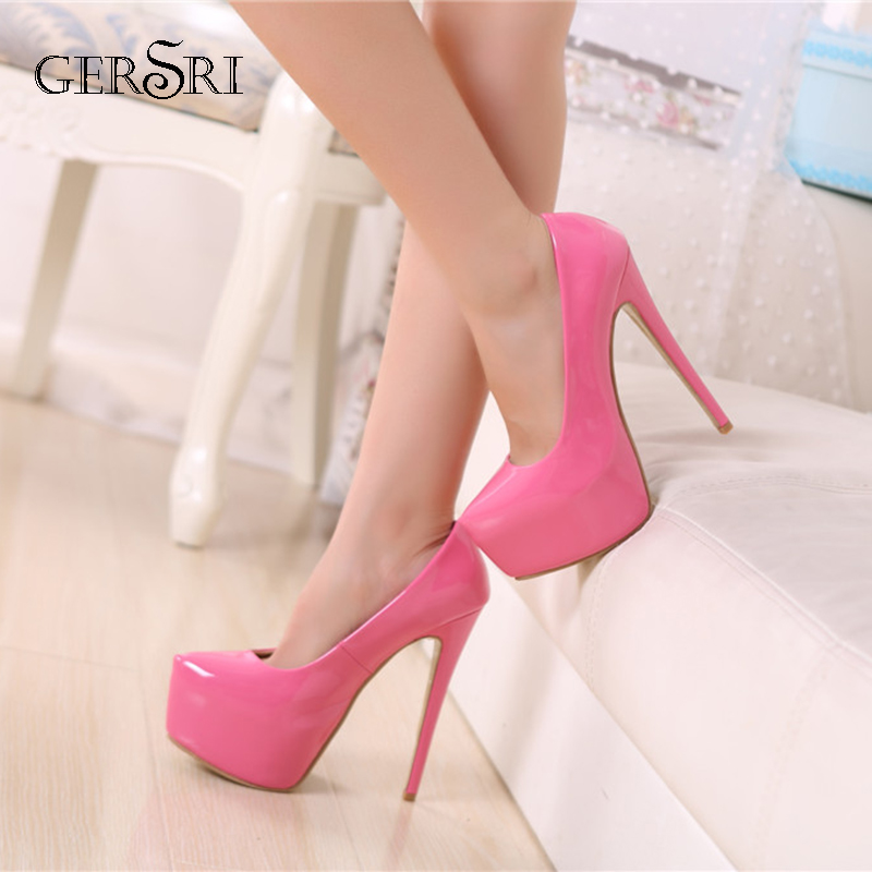Gersri 2019 Platform Pumps Women Shoes Sexy Extremely High Heels 15CM Female Shoes Stiletto Ladies Wedding Party Shoes Pink