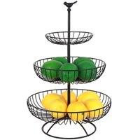 Household 3 Tier Fruit Plate Countertop Metal Fruit Basket Black Vintage Style Tray Stand Storage Basket